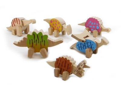Set of 6 Wooden Dinosaurs