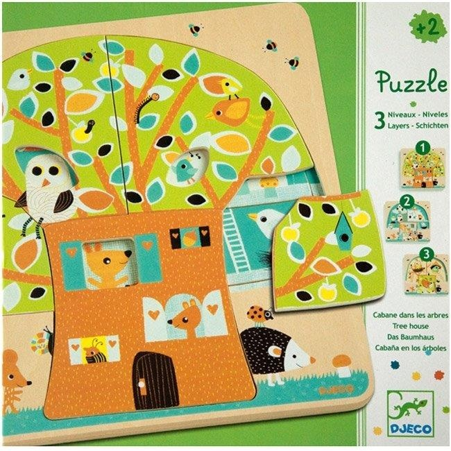 Djeco Tree House with Owls - 3 Layer Puzzle