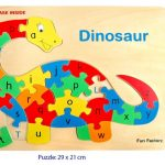 Wooden Raised Puzzle Dinosaur with Alphabet