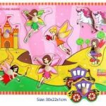 Pink Fairy Wooden Puzzle with Knobs