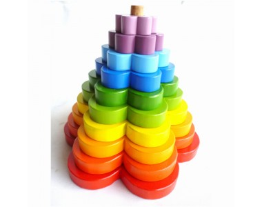 Q Toys Wooden Rainbow Stacking Flowers