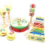 Red & Blue Owl 7 Piece Wooden Musical Set