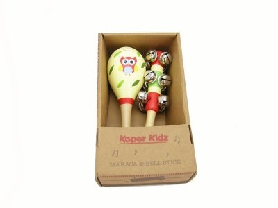 Red & Blue Owl Maraca & Jingle Stick Set