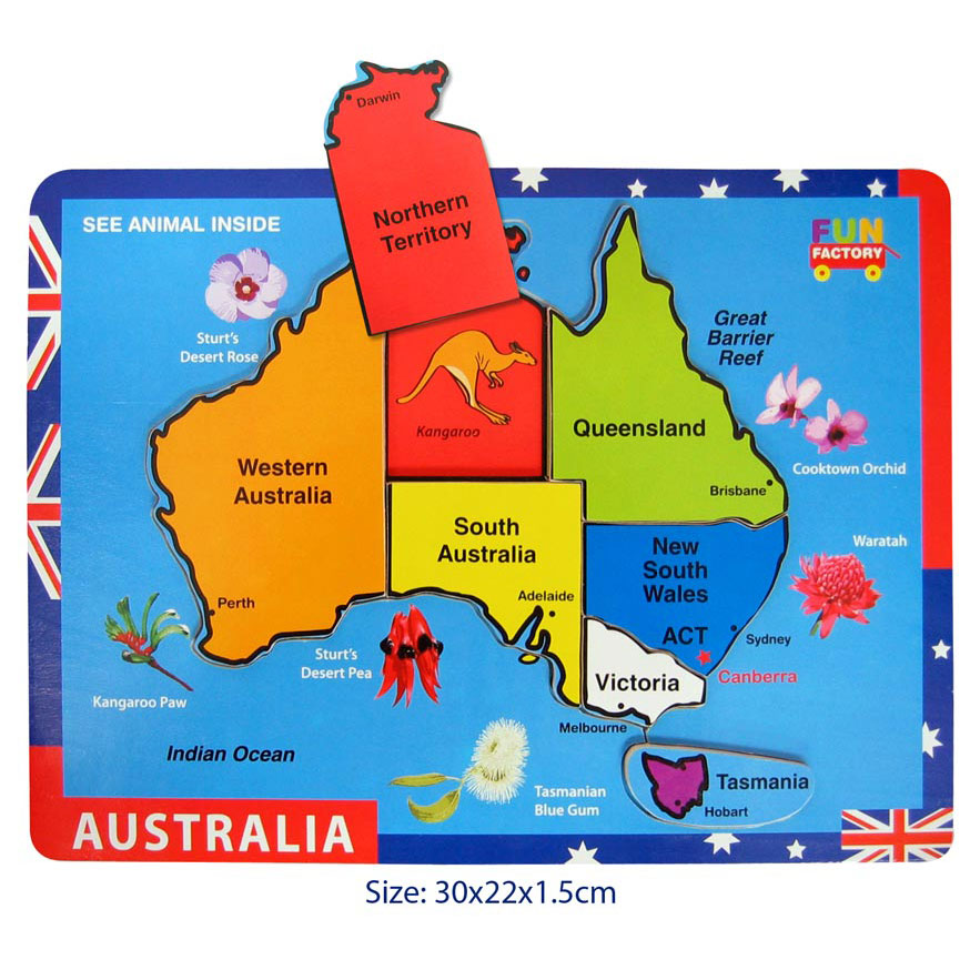 Map Of Australia Jigsaw Puzzle.Australia Map Raised Puzzle
