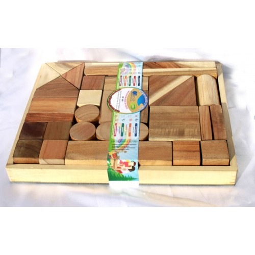 Q Toys Natural Wooden Blocks 34 Piece