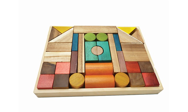Q Toys Natural Colour Wooden Blocks 34 Piece