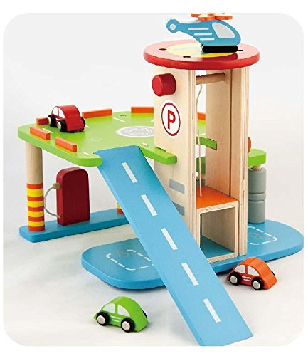 Wooden Garage with 2 Levels, Cars & Helicopter