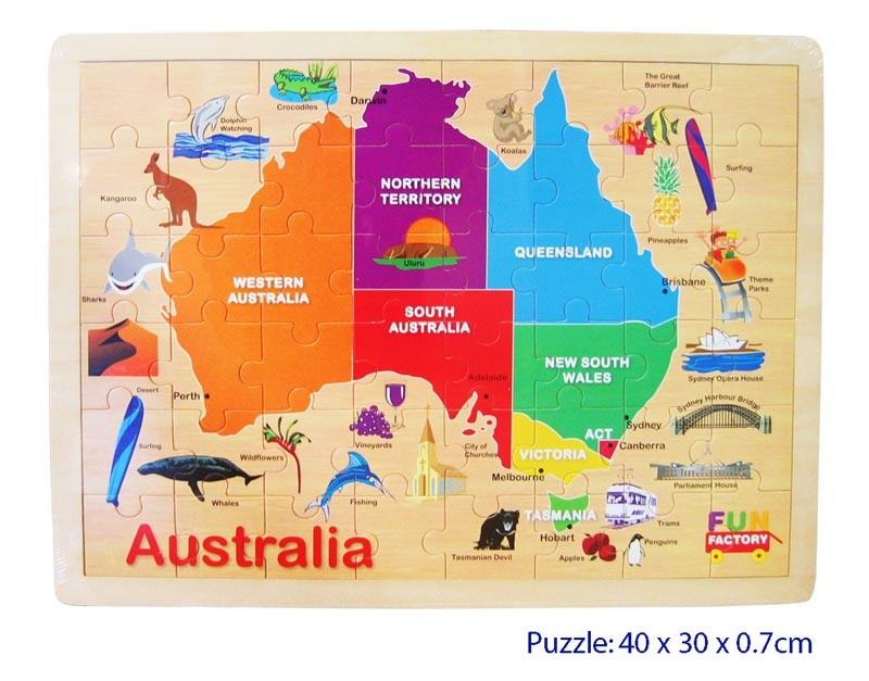 Map Of Australia With States And Capitals.Australia Map Wooden Jigsaw Puzzle