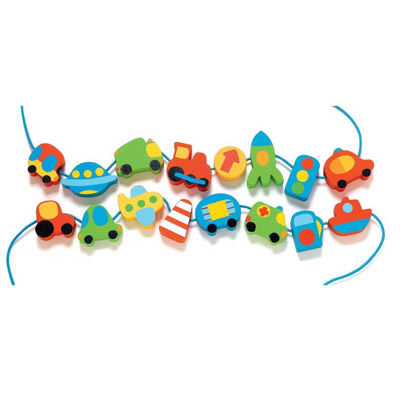 Djeco Wooden Lacing Vehicle Beads