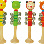 Wooden Animal Bell Jingle Stick