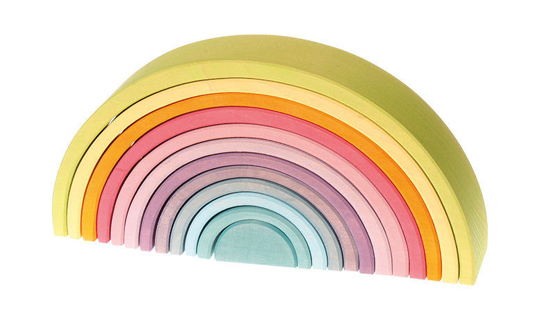grimms-educational-wooden-toys-pastel-rainbow-stacking-tunnel