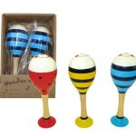 Flat Base Large Wooden Maraca Pairs