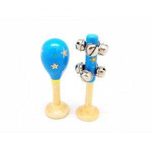 Maraca and Bell Stick Blue Star Design