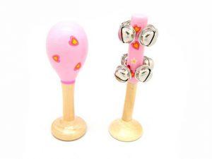Maraca & Bell Stick in a Pink Heart Design