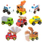 Set of 6 Wooden Mini Vehicles Collection