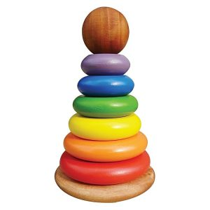Q Toys Wooden Coloured Stacking Rings
