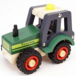 Kaper Kidz Wooden Green Tractor Rubber Wheels