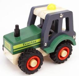 Kaper Kidz Wooden Green Tractor Rubber Wheels