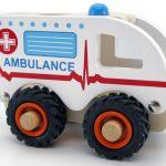 Kaper Kidz Wooden Ambulance Rubber Wheels