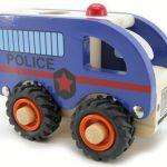 Kaper Kidz Wooden Police Car Rubber Wheels