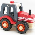 Kaper Kidz Wooden Red Tractor Rubber Wheels