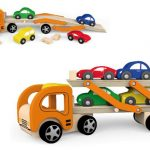 Wooden Car Carrier Truck with 4 Cars