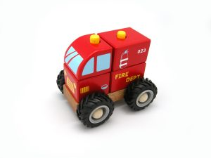Block Fire Engine with Rubber Wheels