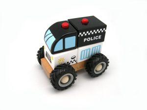 Block Police Van with Rubber Wheels