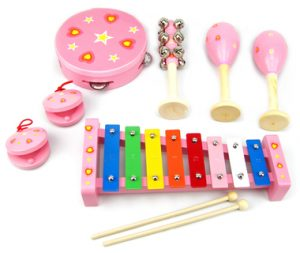Pink Heart 7 Piece Wooden Musical Set