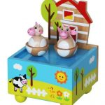 spinning twin cow music box