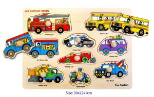 Wooden Puzzle with Knobs - Vehicles