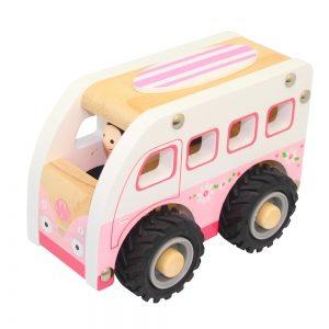 Wooden Pink Camper Van with Rubber Wheels