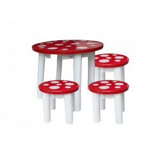 q toys mushroom table and stools
