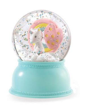 djeco unicorn night light snow globe