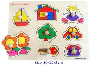 wooden puzzle with knobs houseboat