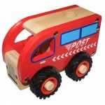 wooden postal delivery truck