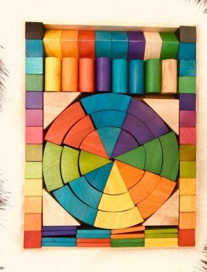 Q Toys Jumbo Natural Rainbow Blocks 86 pcs