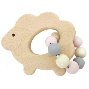 Hess-Spielzeug Rattle Sheep, Natural Pink