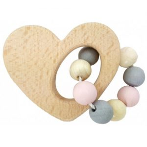 Hess-Spielzeug Rattle Heart Natural Pink