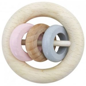 Hess-Spielzeug Rattle Round 3 Rings in Natural Pink