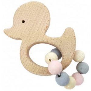 Hess-Spielzeug Rattle Griffon Duck, Natural Pink