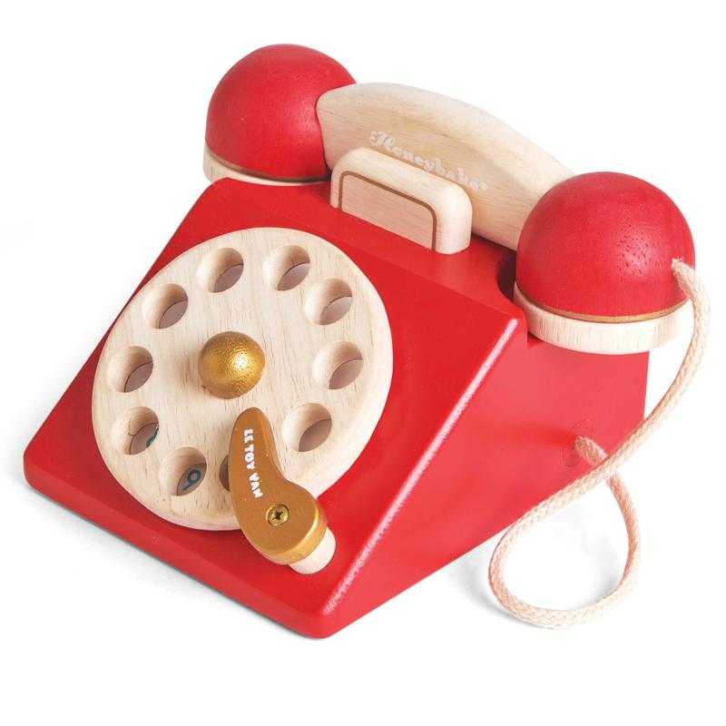 le toy van vintage wooden telephone